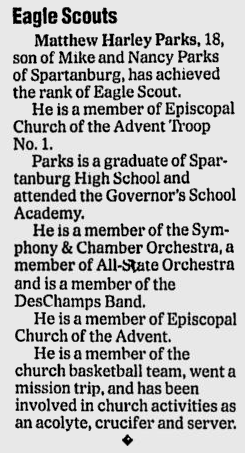 Spartanburg Herald-Journal, 10 October 2004, page B7